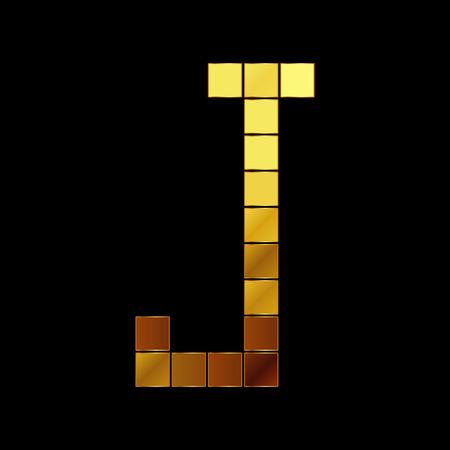 Vector illustration of shiny gold letter - J Vector