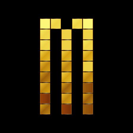 Vector illustration of shiny gold letter - M Vector