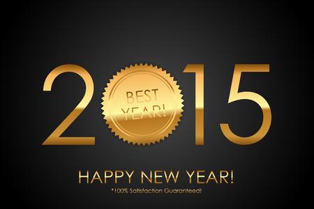 satisfaction guaranteed: Certificate - 2015 Best Year! 100% Satisfaction Guaranteed! - Vector background with gold seal Illustration