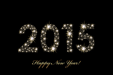 Vector 2015 Happy New Year background with sparkles Stock Illustratie