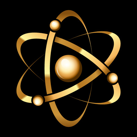 orbiting: Vector gold atom icon