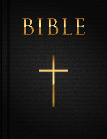 gold cross: Vector cover of the Holy Bible
