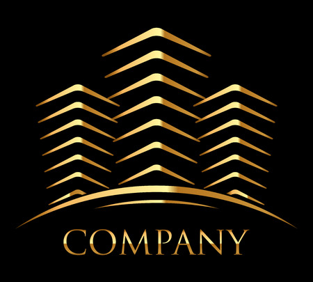 Vector icon of gold buildings with space for your text Illustration