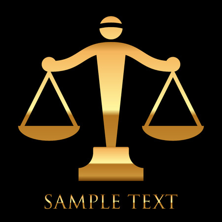scale icon: Vector gold icon of justice scales on black background