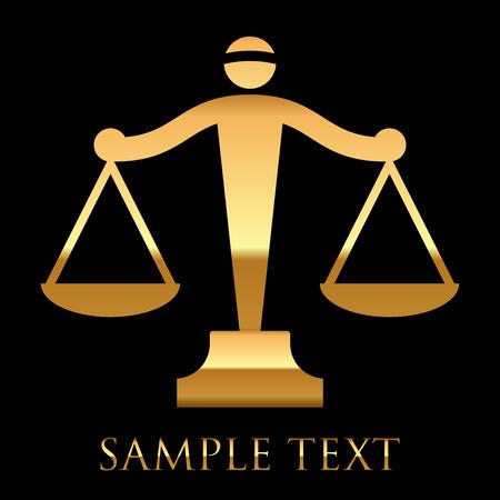 estatua de la justicia: Vector icono de oro de la justicia Escalas sobre fondo negro