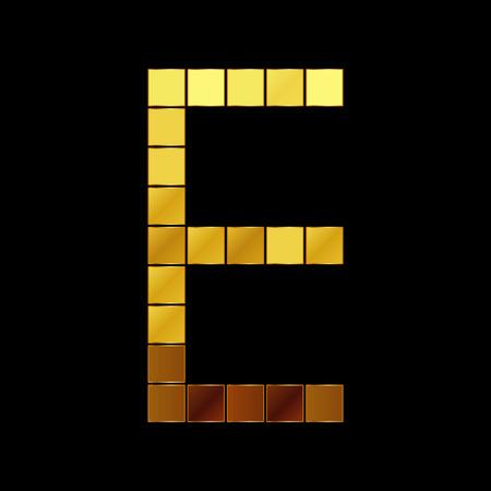 glam: Vector illustration of shiny gold letter E