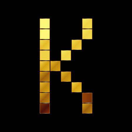Vector illustration of shiny gold letter K Vector