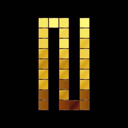 Vector illustration of shiny gold letter N Vector
