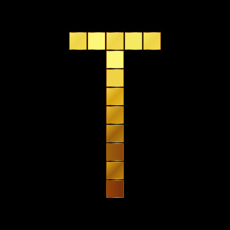 t square: Vector illustration of shiny gold letter T