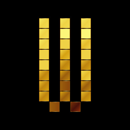 Vector illustration of shiny gold letter W Vector