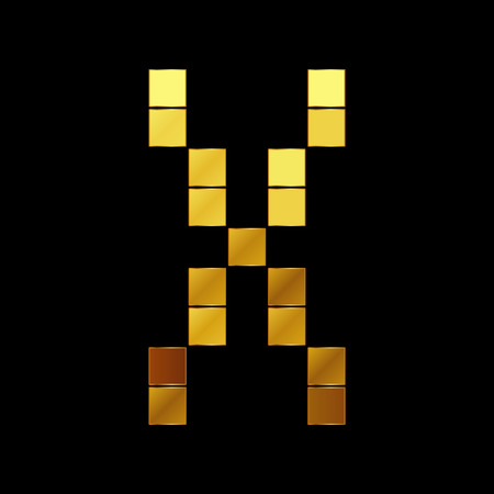 Vector illustration of shiny gold letter X Vector