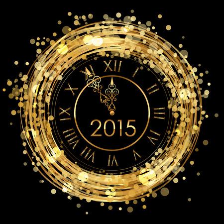 midnight hour: 2015 - Vector shiny New Year Clock