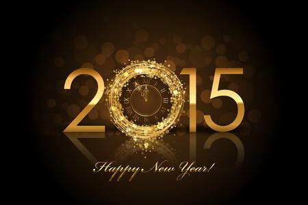 nieuwjaar: Vector 2015 Gelukkig Nieuwjaar achtergrond met gouden klok