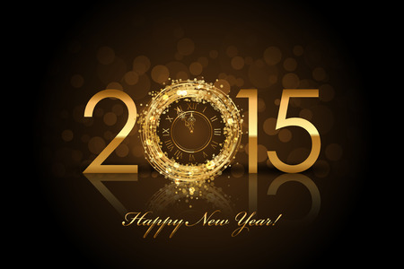 Vector 2015 Happy New Year background with gold clock Ilustração