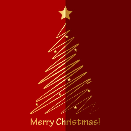 fir tree red: Vector Merry Christmas card with fir tree Illustration