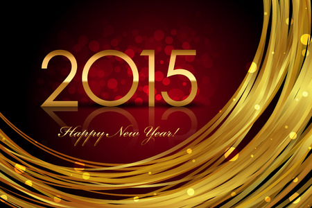 Vector 2015 red and gold glowing background Stock Illustratie