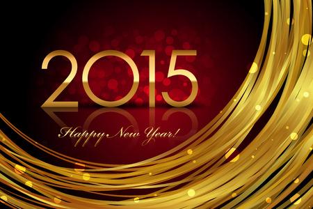 Vector 2015 rot und gold leuchtenden Hintergrund Illustration