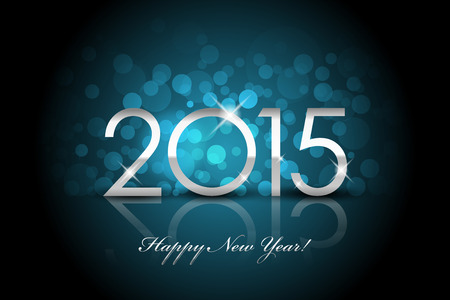 froze: Vector 2015 - Happy New Year blue background blur