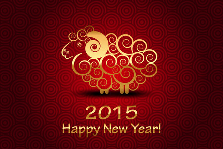 'new year': Vector 2015 Happy New Year background with sheep (Year of sheep)
