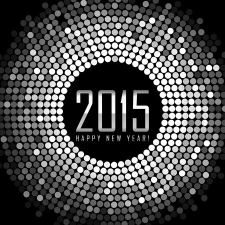 Vector - Happy New Year 2015 - frame with silver disco lights Stock Illustratie