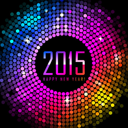 Vector 2015 Happy New Year background with colorful disco lights