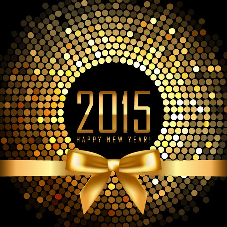 Vector 2015 background with gold disco lights and ribbon Vettoriali