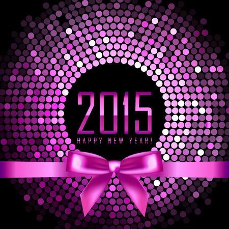 glisten: Вектор счастливый Новый год 2015 фона с диско свет и лентой
