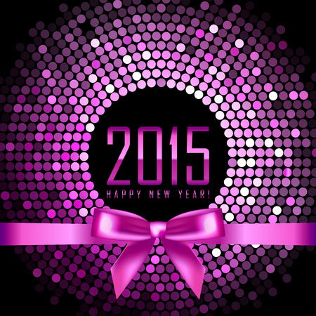 pink and black: Vector Happy New Year 2015 background with disco lights and ribbon