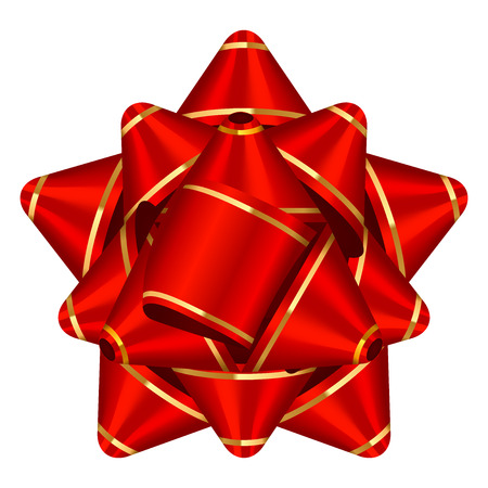 Vector illustration of red & gold bow