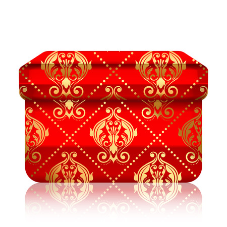 package sending: Vector illustration of red box with gold ornamets Illustration