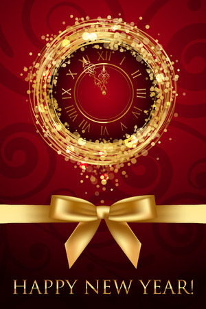 midnight: Vector Happy New Year card with clock and ribbbon