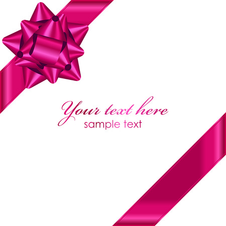 Vector pink ribbon with bow