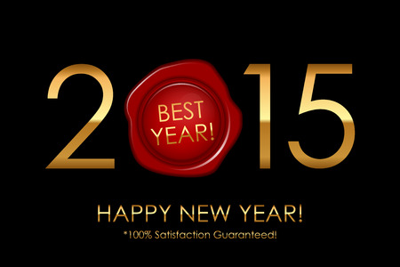 satisfaction guaranteed: Vector 2015 Best Year! 100% Satisfaction Guaranteed! - background with red wax seal Illustration
