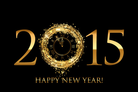 Vector 2015 Happy New Year background with gold shiny clock Vectores