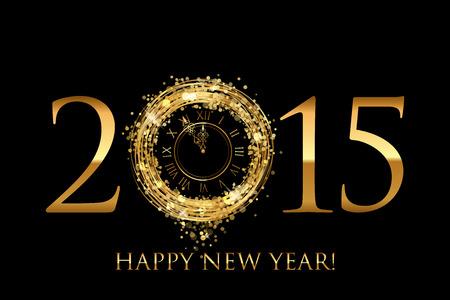 Vector 2015 Frohes Neues Jahr Hintergrund mit Gold glänzenden Uhr Standard-Bild - 34276419
