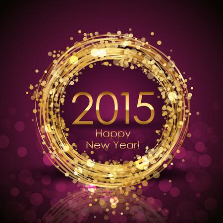 glisten: Вектор 2015 Счастливый Новый год фон с золотой часы Иллюстрация