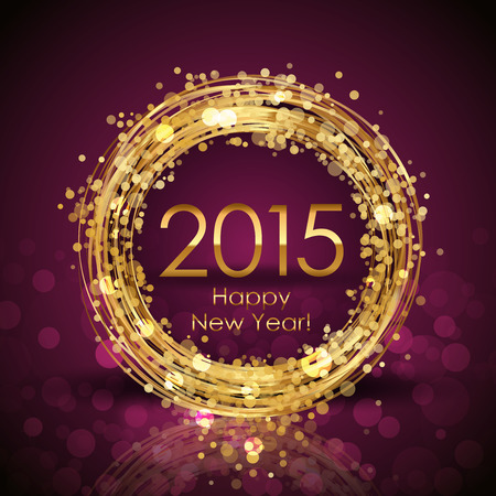 a holiday greeting: Vector 2015 Happy New Year background with gold clock Illustration