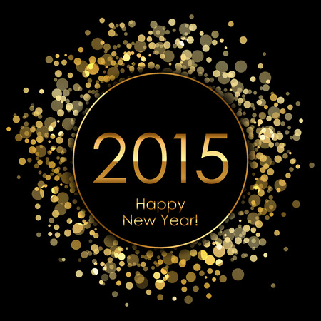 Vector 2015 background with gold sparkles