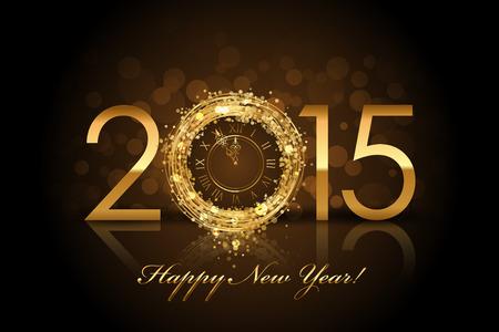 금 시계 벡터 2015 행복 한 새 해 배경 일러스트