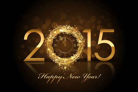 glistening: Vector 2015 Happy New Year background with gold clock Illustration