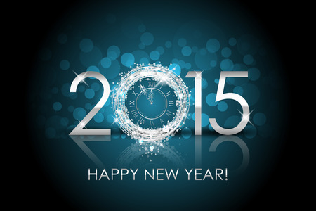 Vector 2015 Happy New Year background with silver clock