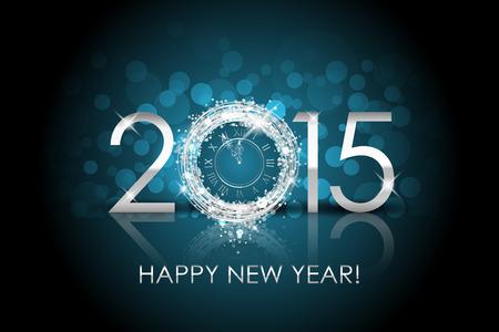 Vector 2015 Frohes Neues Jahr Hintergrund mit Silber Uhr Standard-Bild - 34276431