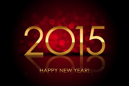 numbers clipart: Vector 2015 - Happy New Year red blurred background
