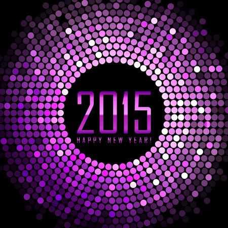 glisten: Вектор - Happy New Year 2015 - фиолетовый диско свет кадр Иллюстрация
