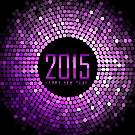 Vector - Happy New Year 2015 - purple disco lights frame