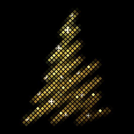 Vector christmas fir tree from disco mosaic Vector