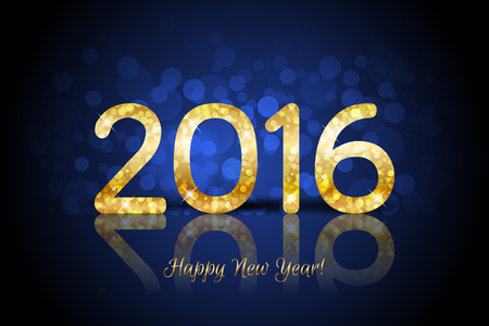 shiny gold: Vector Happy New Year 2016 background with shiny gold number Stock Photo