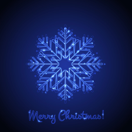 wish of happy holidays: Vector Merry Christmas card with glowing snowflake Stock Photo