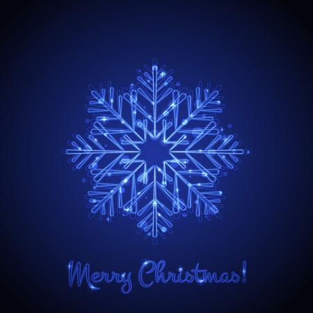 happy new year: Vector Weihnachtskarte mit leuchtenden Schneeflocke