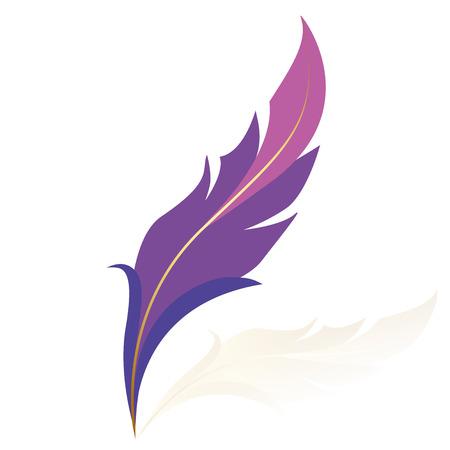 pluma: Ilustración vectorial de pluma púrpura
